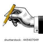 hand with a pencil. vintage... | Shutterstock . vector #445407049