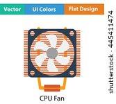 cpu fan icon. flat color design....