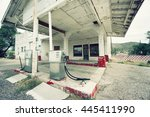 abandoned gas station on route... | Shutterstock . vector #445411990