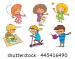 children are engaged in a... | Shutterstock .eps vector #445416490