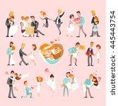 big set of happy just married... | Shutterstock .eps vector #445443754