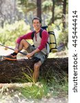 man hiker smiling and sitting... | Shutterstock . vector #445444414
