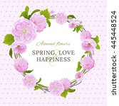 greeting card with the almond... | Shutterstock . vector #445448524
