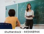 teacher or docent or educator... | Shutterstock . vector #445448944