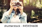 adventure camera photograph... | Shutterstock . vector #445454608