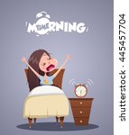 daily morning life. young girl... | Shutterstock .eps vector #445457704