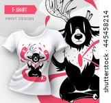 abstract modern t shirt print... | Shutterstock .eps vector #445458214
