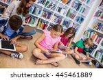 teacher giving lesson to her... | Shutterstock . vector #445461889