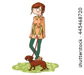 cute cartoon girl taking her... | Shutterstock .eps vector #445468720