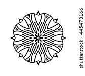 monochrome contour mandala.... | Shutterstock .eps vector #445473166