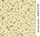 wine bottle  glass  grape vine... | Shutterstock .eps vector #445473784