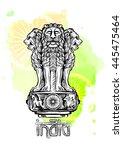 lion capital of ashoka. emblem... | Shutterstock .eps vector #445475464