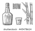 glass and bottle of rum with... | Shutterstock .eps vector #445478614