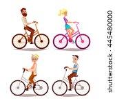 Set Of People Ride Bicycle ...