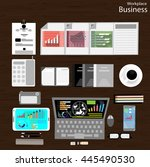 vector workplace businessman... | Shutterstock .eps vector #445490530