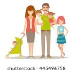 happy family with twins kids.... | Shutterstock .eps vector #445496758