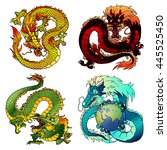 Set Of Four Asian East Dragons...