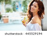 summer  woman walking and... | Shutterstock . vector #445529194