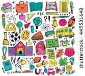 hand drawn doodle elements set. ... | Shutterstock .eps vector #445531648