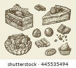 dessert  food. hand drawn cake  ... | Shutterstock .eps vector #445535494
