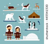 vector set of eskimo characters ... | Shutterstock .eps vector #445541530