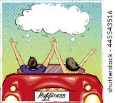 Happy Couple In A Car Driving...