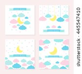 moon  clouds  stars and banner... | Shutterstock .eps vector #445547410