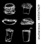 set of fast food elements  hand ... | Shutterstock .eps vector #445547629
