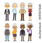 Diverse Cartoon Senior Couples...