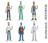 set of profession people... | Shutterstock . vector #445548436