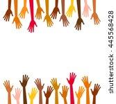 diversity multicolored hands...   Shutterstock .eps vector #445568428