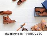 flat lay set of unopened brown... | Shutterstock . vector #445572130