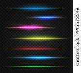set of vector lens flares lines.... | Shutterstock .eps vector #445573246