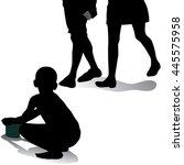 silhouette of beggar boy... | Shutterstock .eps vector #445575958