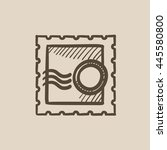 philately vector sketch icon... | Shutterstock .eps vector #445580800