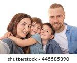 happy family taking selfie...   Shutterstock . vector #445585390