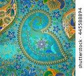 paisley vintage floral motif... | Shutterstock .eps vector #445588894