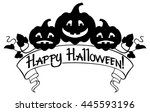 happy halloween elements for... | Shutterstock .eps vector #445593196