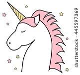 cute cartoon unicorn vector...   Shutterstock .eps vector #445597369