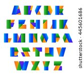 vector alphabet set. colorful... | Shutterstock .eps vector #445601686