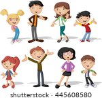 colorful happy people. cartoon... | Shutterstock .eps vector #445608580