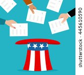 voters putting election... | Shutterstock .eps vector #445610590