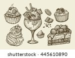 food  dessert. hand drawn ice... | Shutterstock .eps vector #445610890