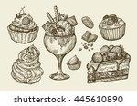 food  dessert. hand drawn ice... | Shutterstock .eps vector #445610890