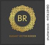 luxury monogram logo. golden... | Shutterstock .eps vector #445618480