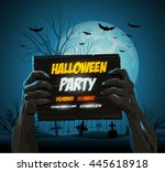 zombie hands holding a... | Shutterstock .eps vector #445618918