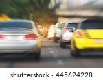 traffic jam with zoom blur... | Shutterstock . vector #445624228