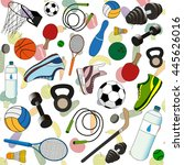 sports accessories on a... | Shutterstock .eps vector #445626016