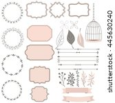 cute collection of decoration... | Shutterstock .eps vector #445630240
