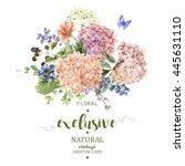 summer vintage floral greeting... | Shutterstock . vector #445631110